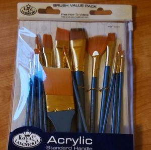 Acrylic paint set easel brushes canvas